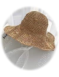 Verano de Las Mujeres al Aire Libre Sombrilla Sombrero de Paja Sombrero de Playa  Sombrero Plegable 8c364803926