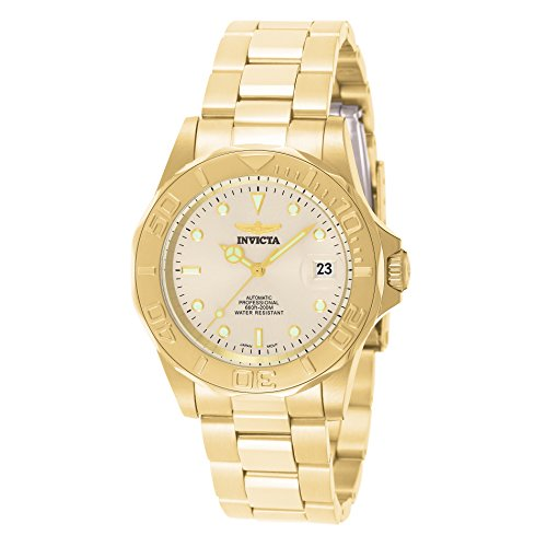Invicta Unisex Pro Diver Automatic Watch with Beige Dial Analogue Display and Gold Plated Bracelet 9010