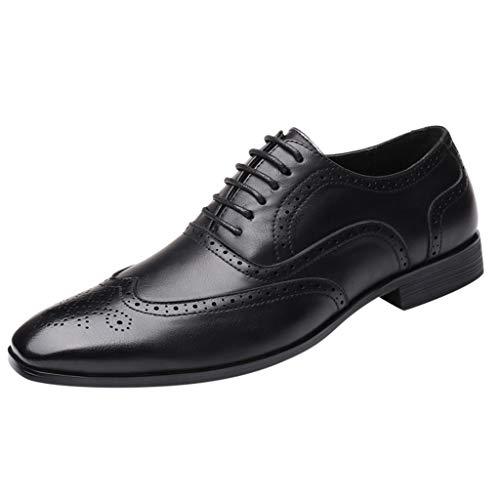 FNKDOR Schuhe Groß(38-48) Berufsschuhe Britischer Stil Herren Lederschuhe spitz Geschäft Schnürsenkel Freizeitschuhe Oxford Leder Hochzeitsschuhe Schwarz 48 EU (Freizeitschuhe Clarks)