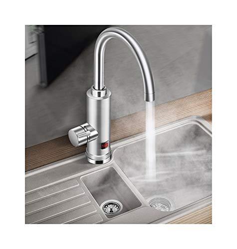 220 V Elektro-Durchlauferhitzer, Versorgung mit warmem und kaltem Wasser, Edelstahl-Heißwasser-Küchenarmatur mit LED-Digitalanzeige for den Heimgebrauch (Silber) -