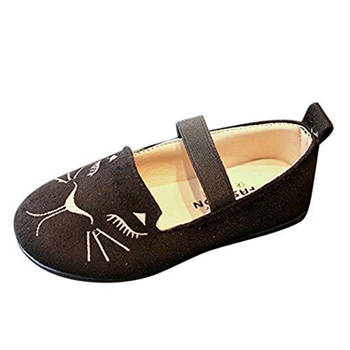 Mode Prinzessin Schuhe Kleinkind Kinder, DoraMe Baby Jungen Mädchen Katze Kopf Einzelne Schuhe Nubukleder Tanzschuhe für 3.5-6.5 Jahr (4-4.5 Jahr/Size(CN):27, Schwarz)