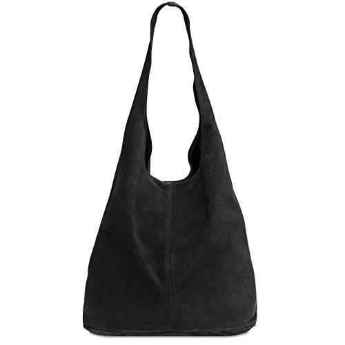 CASPAR TL767 Damen große Vintage Velourleder Tasche Ledertasche Beuteltasche Schultertasche Shopper Handtasche, Farbe:schwarz;Größe:One Size (Hobo Handtaschen Schwarz Stoff)