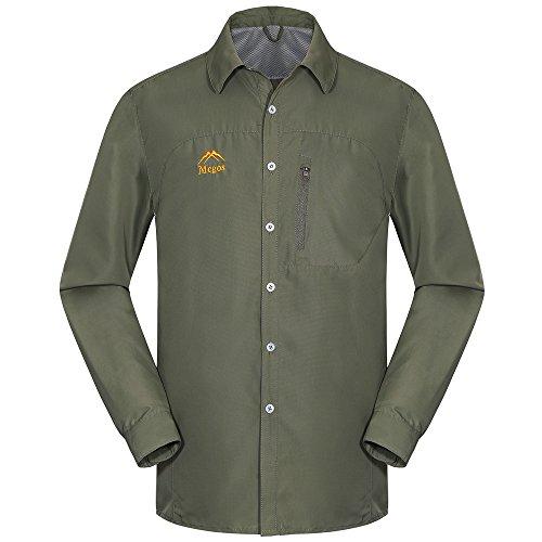 emansmoer Herren Atmungsaktiv Netzfutter Quick Dry Hemd Langarm Komfort Outdoor Camping An