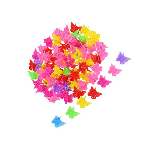 Mini-butterfly-clips (JZZJ 100 Pieces Butterfly Hair Clips Claw Barrettes, Assorted Color Mini Jaw Clip Hairpin Hair Accessories for Women and Girls by)