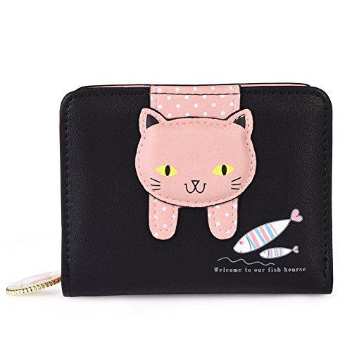 Vbiger Damen Portemonnaie Damen Geldbörse Süß Katze Portemonnaie (Schwarz+) Geldbörse Katze