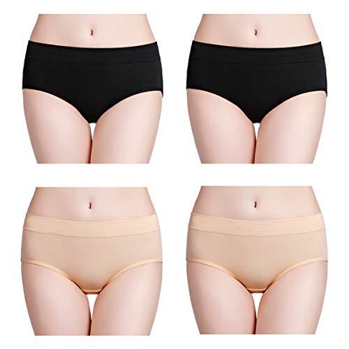 wirarpa Bragas de Algodon Mujer Braguitas Culottes Cómodo Pantalones Pack de 4 Negro, Beige 38