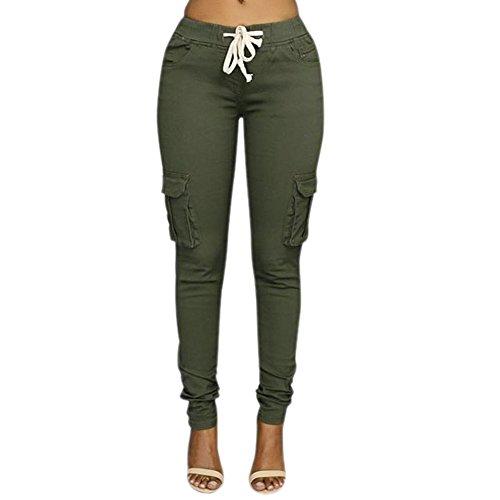 Minetom Damen Jogginghose Stretch Multi Tasche Beiläufig Skinny Hose Hohe Taille Freizeithose Bleistift Hosen mit Kordelzug Grün DE 42/Taille 81CM (Khaki Kleid Hose)