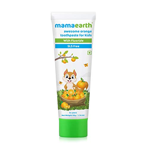 Mamaearth Natural Toothpaste, Orange Flavour, SLS Free, with 750 PPM Fluoride, 4+ Years, Plant Based, 50gm