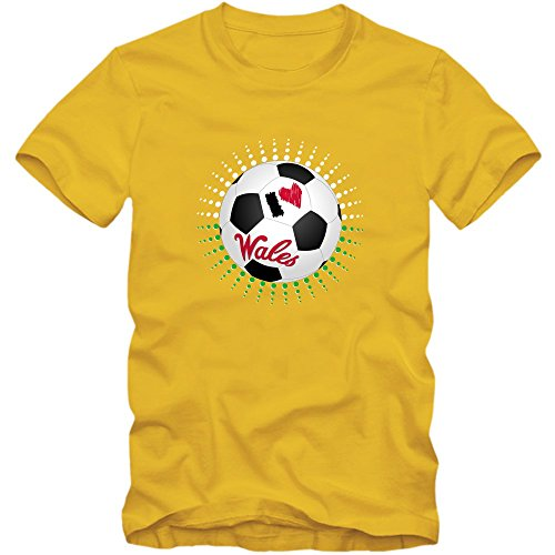 Wales EM 2016 #6 T-Shirt   Fußball   Herren   Trikot   Y Dreigiau   Nationalmannschaft © Shirt Happenz Gelb (Gold L190)