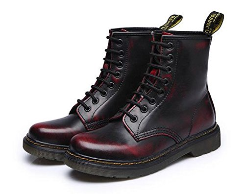 &zhou femelle Martin bottes automne et bottes d'hiver mode plat - à fond des bottes Red