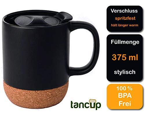 Beschreibbare 375ml Keramik-Tasse Schwarz | Kaffeetasse/Kaffeebecher mit Deckel für Spritzschutz und isoliertem Korkboden hält länger warm | to Go Becher perfekt für deinen täglichen Kaffee oder Tee