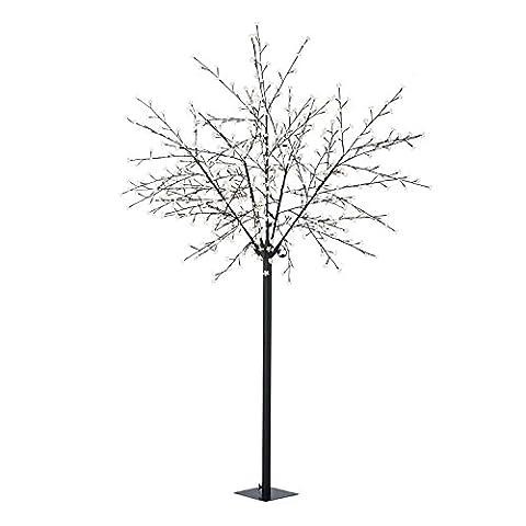 Blumfeldt Hanami Arbre lumineux style cerisier (600 lumières LEDs en forme de fleurs, branches modelables, 10m de câble, faible consommation) - blanc chaud