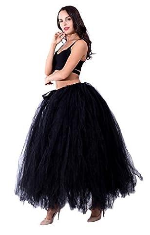 Honeystore Damen's Rock Tutu Tuturock Tütü Petticoat Tüllrock mit Gummizug für Karneval, Party und Hochzeit Schwarz One Size