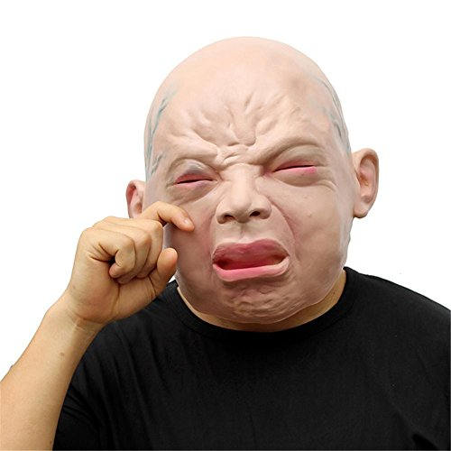SQCOOL Halloween Dress up Cry Face Mask Latex Perücke Schrei Baby Cosplay Cry Doll Kostüm Masquerade