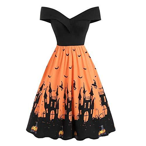 Aiserkly Frauen Halloween Vintage Kleid Schulterfrei Kürbis Fledermaus Druck Party Kleid Mittelalter Kostüm Cosplay Karneval Abendkleid Orange L (80's Kostüm Für Schwangere)