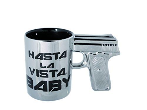Out of the blue 4029811342761 Mug avec Poignée Pistole,Faïence, Argent, , 15 x 15.9 x 7.9 cm