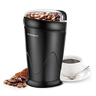 Aigostar Breath 30KYI - Electric Coffee Grinder for Coffee Beans, Spice, Nuts, Seeds, Herbs, Stainless Steel Blades, 150W, BPA Free, Black. Exclusively Design.