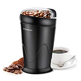 Aigostar Breath 30KYI – Electric Coffee Grinder for Coffee Beans, Spice, Nuts, Seeds, Herbs, Stainless Steel Blades, 150W, BPA Free, Black. Exclusively Design.