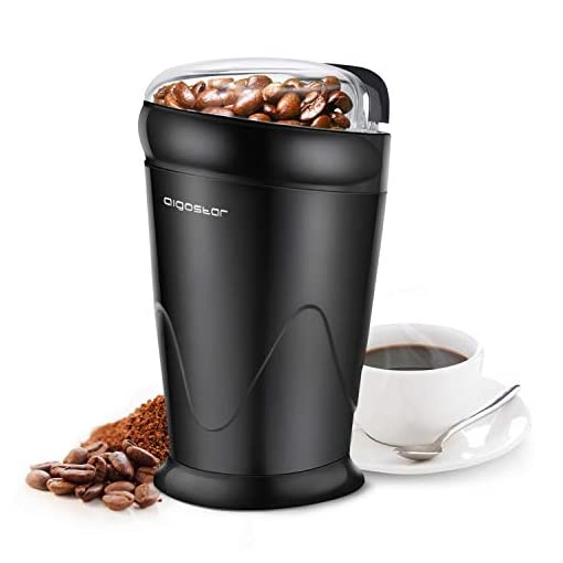 Aigostar Electric Coffee Grinder, Stainless Steel Blade, 150W, 60g Capacity, Cord Storage, Portable & Compact for Coffee Beans, Spice, Nuts, Seeds, Herbs, Black – Breath 30KYI.