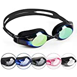 COPOZZ Mirrored Swimming Goggles, Pro Triathlon Swim Goggles for Unisex Adults Men Women Teenagers Boys Girls, Wide View Anti Fog Crystal Clear Vision No Leaking Silicone Seals, Gold