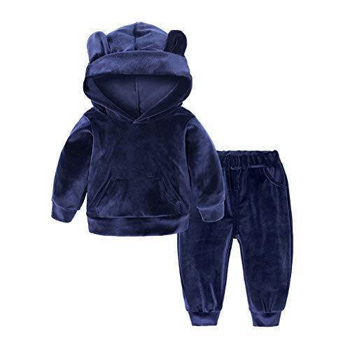 Hawkimin_Babybekleidung Hawkimin Baby Mädchen Jungen Langarm Einfarbig Hoodie Tops + Hosen Outfits Kleidung