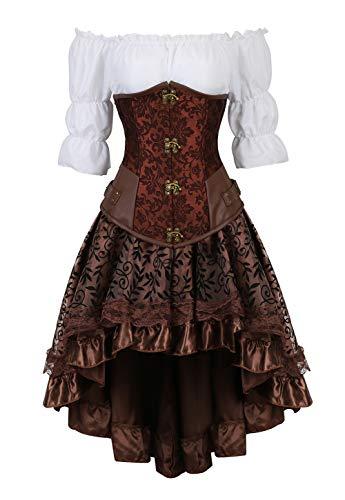 Grebrafan Steampunk Kunstleder Unterbrustcorsage Kostüm mit asymmetrischer Spitzenrock und Bluse - für Karneval Fasching Halloween (EUR(34-36) M, Braun)