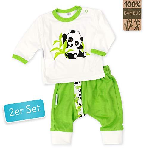 Baby Sweets Baby Set Hose + Shirt Unisex beige grün   Motiv: Happy Panda   Babyset mit 2 Teilen aus Bambus für Neugeborene & Kleinkinder   Größe: 3 Monate (62)