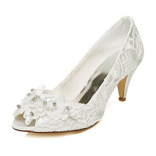 Jia jia scarpe da sposa da donna 5949420 décolleté con cono tacco in raso con tacco a punta in raso scarpe da sposa colore avorio, taglia 41 eu