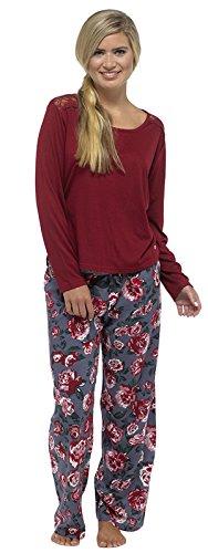 Pyjama Long Lot de 2 bas de pyjama à manches longues pour femme Motif cadeau de Noël-cadeaux Pj'8–18 Taille s Red - Lace