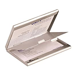 DURABLE 243323 – Portabiglietti da visita tascabile in alluminio, divisorio, per 10 biglietti personali e 10 ricevuti, 90×55 mm, argento metallizzato