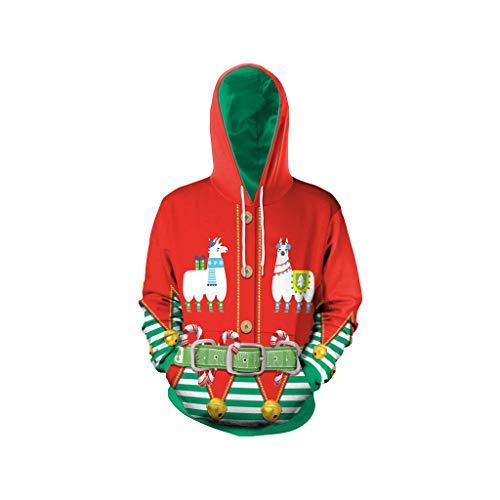Muster Kostüm Und 60's 50's - SHE.White Unisex 3D Druck Hoodie Weihnachten Kapuzenpullover Herbst Winter Langarm Warm mit Christmas Muster Sweatjacke Herren Damen Sweatshirt Pulli