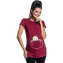 Zeta Ville - Shirt Camiseta Premamá estampado bebé asomándose para ...