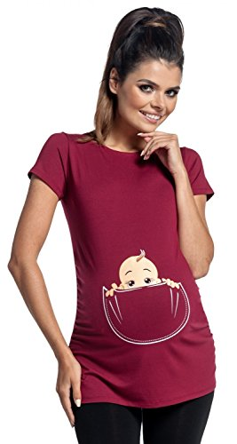 Zeta Ville - Shirt Camiseta Premamá estampado bebé asomándose para mujer -...
