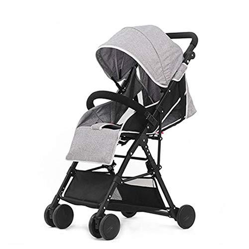 XYUJIE Carrozzina,Passeggino può Sedersi Passeggino Pieghevole Ad Alta Reclinabile Pieghevole per Bambini,Grey-OneSize