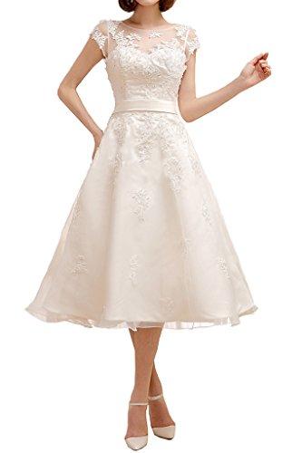 Milano Bride Damen Elegant Hochzeitskleider Brautkleider Brautmode Wadenlang mit Spitze Applikation...
