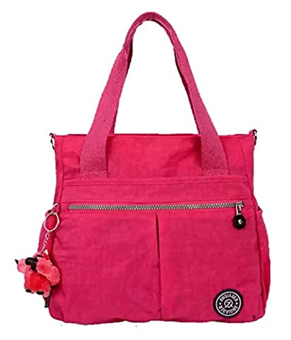 Designer Style Ladies Women LARGE Handbag Hobo Shoulder CrossBody Messenger Tote Bag Water Resistant Multi-pocket with Monkey Key-Hanger (Hot Pink)