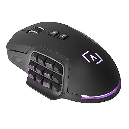 AIM - Ratón gaming profesional, (10000 DPI,sensor óptico Avago PRO,17 botones mecánicos programables OMROM, DNA RGB configurable, botones laterales personalizables,...
