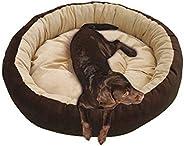 Mellifluous Reversible Super Soft Velvet Round Cat Dog Pet Bed Diameter 61 cms Height 15 cms S (Small, Brown C
