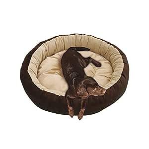 Mellifluous Reversible Super Soft Velvet Round Cat Dog Pet Bed Diameter 61 cms Height 15 cms S (Small, Brown Cream)