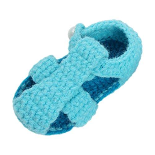Bigood 1 Paar Strickschuh One Size Strick Schuh Baby Unisex süße Muster 11cm Knopf Hellgrün Hellblau K