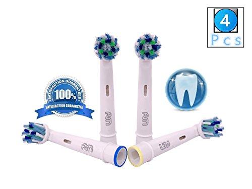 Flm vitality white and clean eb50a - testine di ricambio per spazzolino elettrico compatibili con braun oral b, 4 ricambi