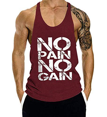 COWBI Herren No Pain No Gain Bodybuilding Tank Top Strap Fitness Stringer Achselshirts,M-XXL -