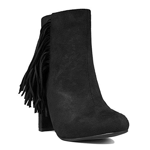 Nouveau knöchelhoch tige bottes à franges pour femme posh pets troddel chaussures paragraphes taille Noir - Noir