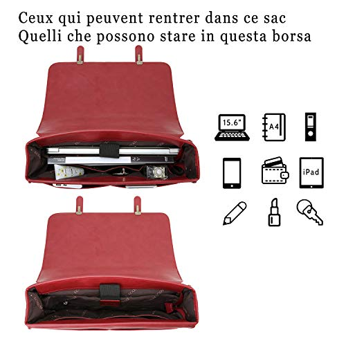 ECOSUSI 15.6 Pollici Laptop Borsa Grande Messenger in Pelle Pu Vintage Borsa a Tracolla per Donna