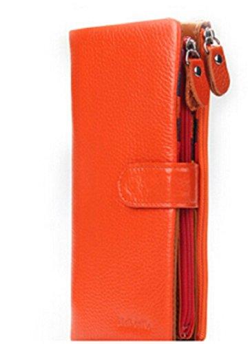 URAQT Damen Geldbörse Leder Geldbeutel, Bi-Fold Portemonnaie Brieftasche, Karte Organizer (Orange) (Haut-leder-bi-fold)