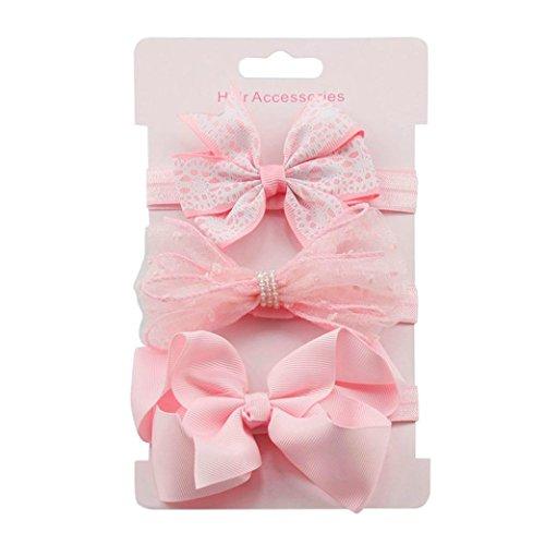 Kolylong 3Pcs Newborn Baby Girls Cute Elastic Floral Headband Sets Kids Bowknot Hairband Kit (E)