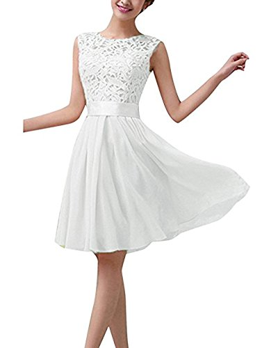 hippolo Damen Sexy Sommer-Chiffon Spitze formelle Hochzeit Ball Abend Party Maxi/Mini Kleid weiß L (Hochzeit Kleid Stock Länge)
