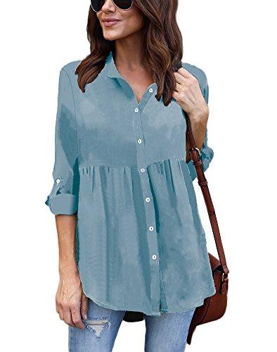 Tomwell Donna Casual Elegante Moda Chiffon Solido T-Shirt V-Scollo Manica Lunga Camicetta Sciolto Camicia Blusa Tops Azzurro