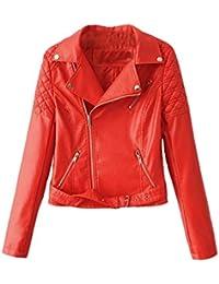 SaiDeng Mujeres Vendimia Chaquetas De Cuero Pu Abrigo Solapa Biker Jacket
