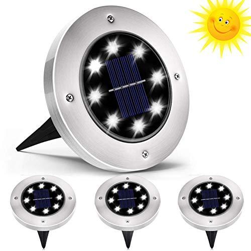QSSTech Luci Solari Giardino 8 LED,Luci led Solari da Esterno,LED Luce Sepolta Solare IP65 Impermeabile,per Esterno,Scala,Paesaggio,Strade(Bianco)4 Pezzi